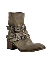 Strategia | Brown Military Distressed Satin Studded Ankle Boots | Lyst