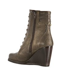 Stuart Weitzman - Green Metallic Olive Leather Woodstock Lace Up Wedge Boots - Lyst