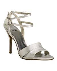Stuart Weitzman - White Satin Tough Double Buckle Sandals - Lyst