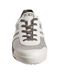 Tod's | Gray Heather Grey Leather Trim City Sport Sneakers | Lyst