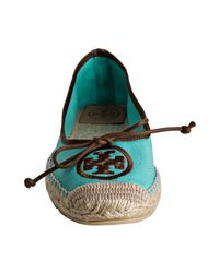 Tory Burch | Blue Turquoise Canvas Bow Detail Espadrilles | Lyst