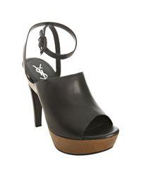 Saint Laurent | Black Leather Woodstock Ankle Wrap Platform Sandals | Lyst