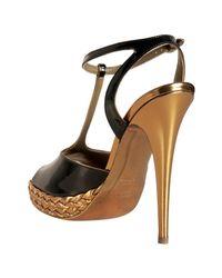 Saint Laurent - Brown Chocolate Patent Tribute T-strap Platform Sandals - Lyst