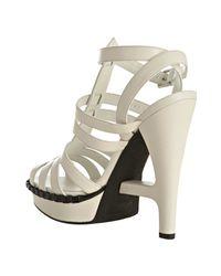 Saint Laurent - White Leather Essentiel 105 T-strap Sandals - Lyst