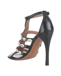 Alaïa | Black Leather Sea Shell T-strap Sandals | Lyst