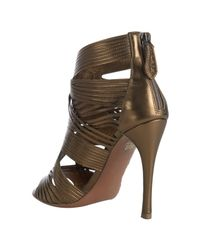 Alaïa - Metallic Bronze Strappy Leather Peep Toe Sandals - Lyst