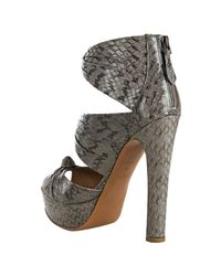 Alaïa | Gray Grey Snakeskin Knot Detail Platform Sandals | Lyst