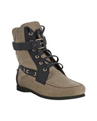 Balenciaga | Brown Canvas Lace Up Boots | Lyst