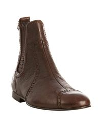 Balenciaga | Brown Tooled Leather Chelsea Boots | Lyst