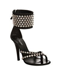Balmain - Black Suede Studded Thong Ankle Cuff Sandals - Lyst