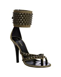 Balmain | Brown Suede Studded Thong Ankle Cuff Sandals | Lyst