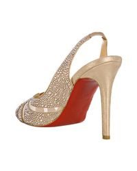Christian Louboutin - Natural Nude Crystal Alta Rita Diams 100 Slingbacks - Lyst