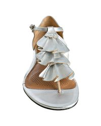 Corso Como - Metallic Silver Leather Felony Ruffle Thong Sandals - Lyst