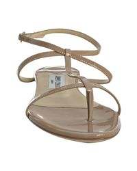Jimmy Choo - Natural Nude Patent Leather Fiona Flat Thong Sandals - Lyst