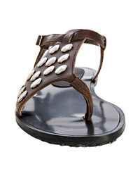 Marni | Brown Coffee Leather Studded Thong Flat Sandals | Lyst