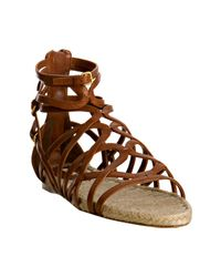 Miu Miu | Brown Strappy Leather Flat Gladiator Sandals | Lyst