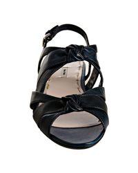 Miu Miu - Blue Denim Knotted Leather Sandals - Lyst