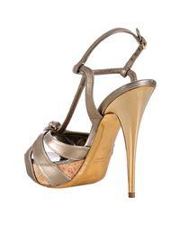 Miu Miu - Metallic Light Gold Leather Knotted T-strap Platform Sandals - Lyst