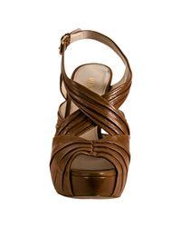 Prada - Light Brown Pleated Leather Platform Sandals - Lyst