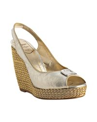 Roger Vivier - Metallic Silver Leather Gold Piped Slingback Wedges - Lyst