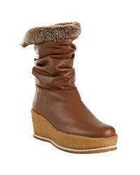 Stuart Weitzman | Brown Taffy Leather North Platform Wedge Boots | Lyst
