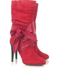 Halston | Red Astor Suede and Leather Boots | Lyst