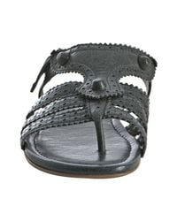 Balenciaga | Gray Dark Grey Leather Arena Flat Thong Sandals | Lyst