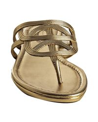 Elie Tahari - Bronze Metallic Leather Carlie Thong Sandals - Lyst