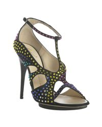 Giuseppe Zanotti | Black Satin Crystal Detailed T-strap Platform Pumps | Lyst