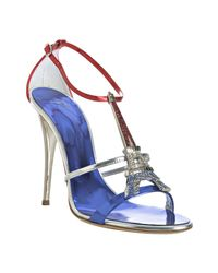 Giuseppe Zanotti | Blue Cobalt Metallic Leather Eiffel Tower Sandals | Lyst