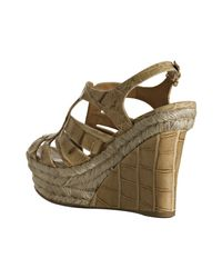 Miu Miu | Natural Dark Beige St Coco Platform Wedge Sandals | Lyst