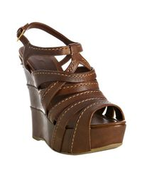 Miu Miu | Brown Coconut Stitched Leather Wedge Sandals | Lyst