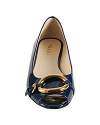 Prada | Blue Baltic Patent Oval Buckle Peep-toe Flats | Lyst