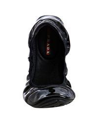 Prada - Sport Black Patent Leather Ballet Flats - Lyst
