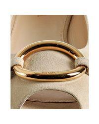Prada - White Ivory Suede Peep Toe Ring Flats - Lyst