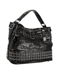 Rebecca Minkoff | Black Leather Grommet Detail Eyelet Devote Hobo | Lyst