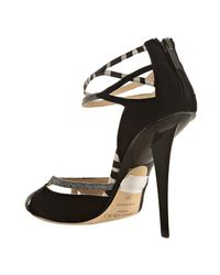 Jimmy Choo - Black Suede Zebra Mix Needle Peep Toe Pumps - Lyst
