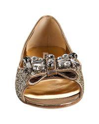 Miu Miu - Metallic Silver Glitter Gold Leather Bow Detail Peep Toe Flats - Lyst