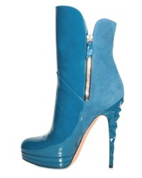 Casadei - Blue 140mm Suede and Patent Ankle Boots - Lyst