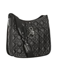 Dior | Black Cannage Quilted Coated Canvas Crossbody Bag | Lyst