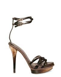 Ferragamo | Gray Metal and Horn Gessy Sandals | Lyst