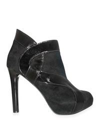 Georgina Goodman | Black Suede and Patent Insert Low Boots | Lyst