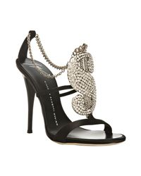 Giuseppe Zanotti | Black Suede Dollar Sign Crystal Sandals | Lyst