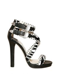 Jimmy Choo | Black Zebra Print Pony Fur Maddox Sandals | Lyst