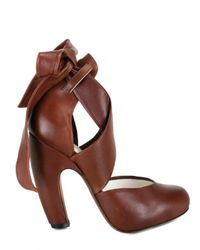 Nicole Brundage - Brown Vintage Calf Wrap Around Ankle Pumps - Lyst
