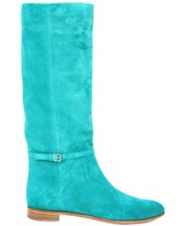 Sergio Rossi | Blue Suede Boots | Lyst