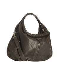 Sondra Roberts | Gray Dark Grey Lambskin Leather Tribeca Hobo | Lyst