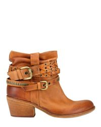 Strategia | Orange Washed Leather Belt Low Boots | Lyst