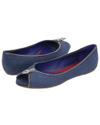 Alexander McQueen | Blue Zipper Flat | Lyst