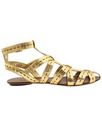 Belle By Sigerson Morrison | Metallic-leather Gladiator Sandals | Lyst